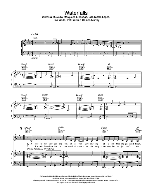 Waterfalls Sheet Music