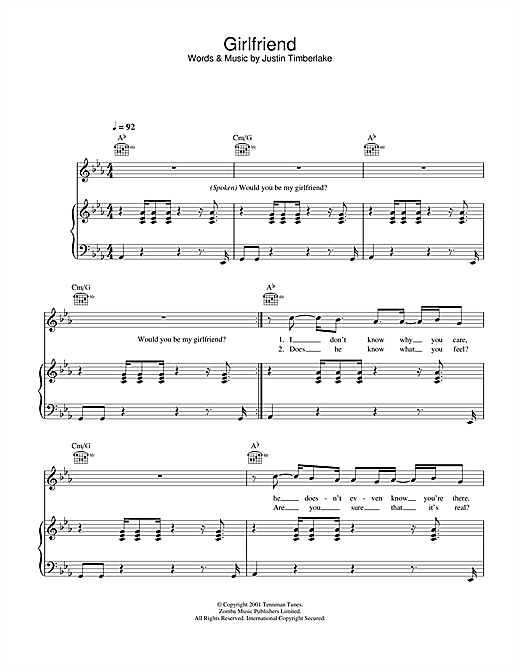 Girlfriend Sheet Music