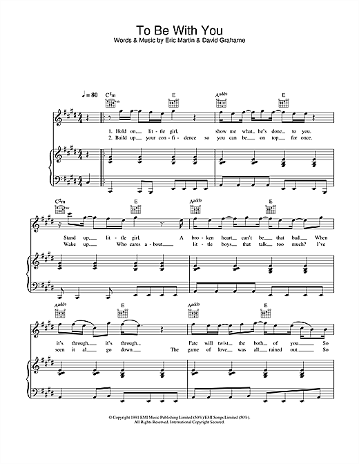 To Be With You Sheet Music