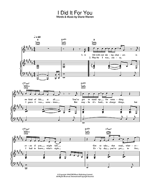 I Did It For You Sheet Music