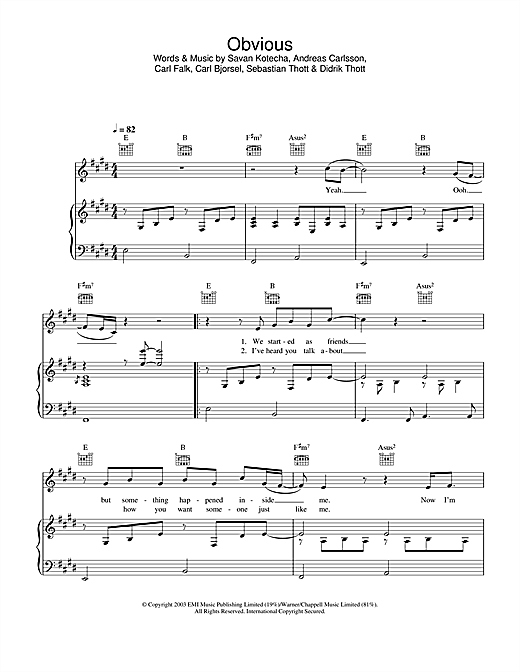 Obvious Sheet Music