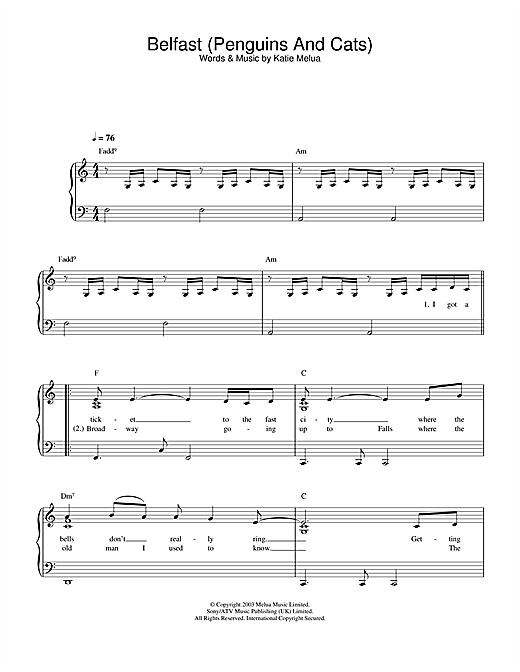 Partition piano Belfast (Penguins And Cats) de Katie Melua - Piano Solo