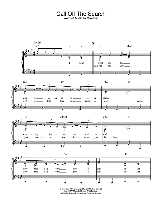 Call Off The Search Sheet Music