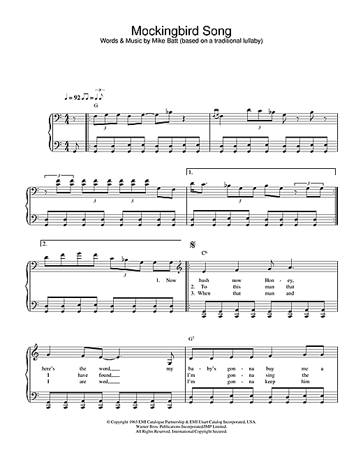 Mockingbird Song Sheet Music