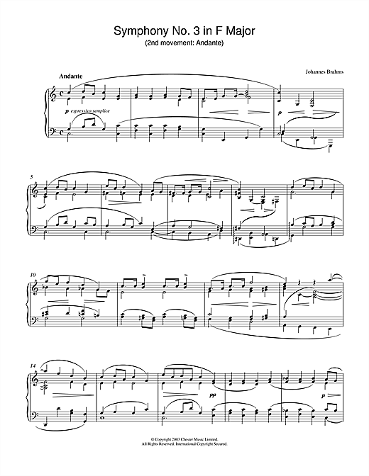 Symphony No. 3 in F Major (2nd movement: Andante) Sheet Music