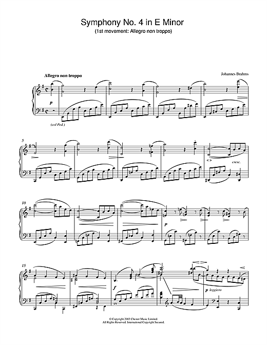 Partition piano Symphony No. 4 in E Minor (1st movement de Johannes Brahms - Piano Solo
