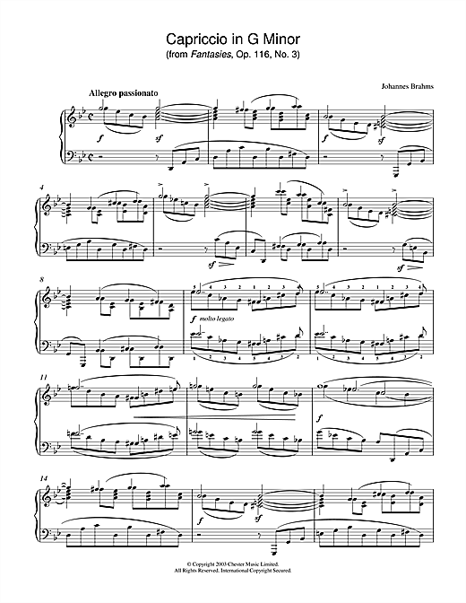 Partition piano Capriccio in G Minor (from Fantasies, Op. 116, No. 3) de Johannes Brahms - Piano Solo
