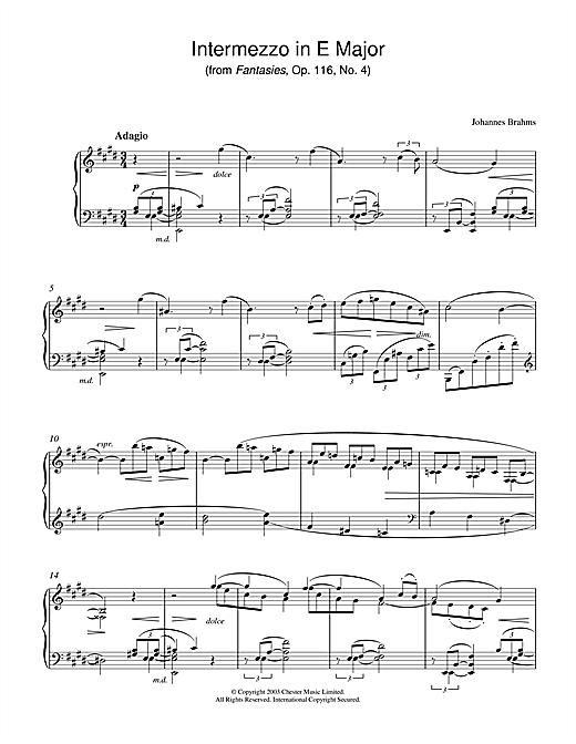 Intermezzo in E Major (from Fantasies, Op. 116, No. 4) Sheet Music