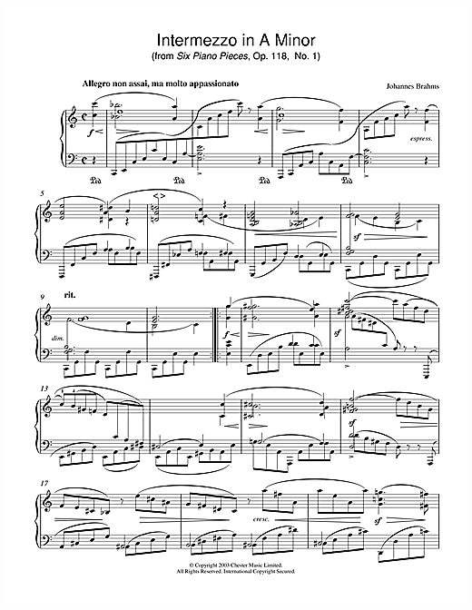 Intermezzo in A Minor (from Six Piano Pieces, Op. 118, No. 1) Sheet Music