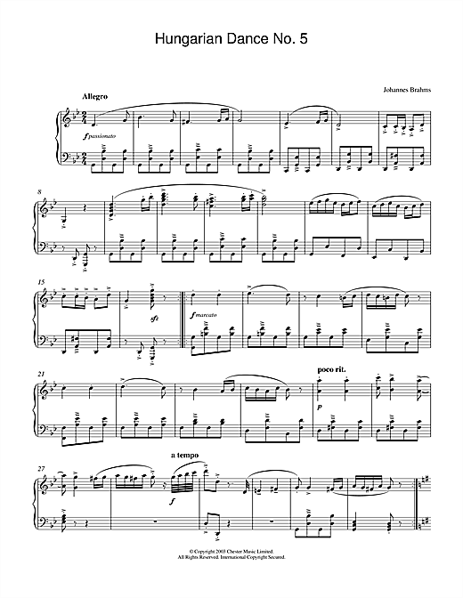 Partition piano Hungarian Dance No.5 de Johannes Brahms - Piano Solo