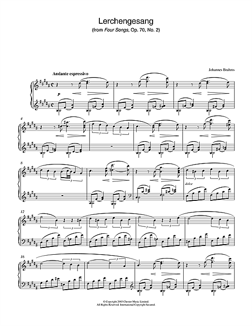 Partition piano Lerchengesang (from Four Songs, Op. 70, No. 2) de Johannes Brahms - Piano Solo