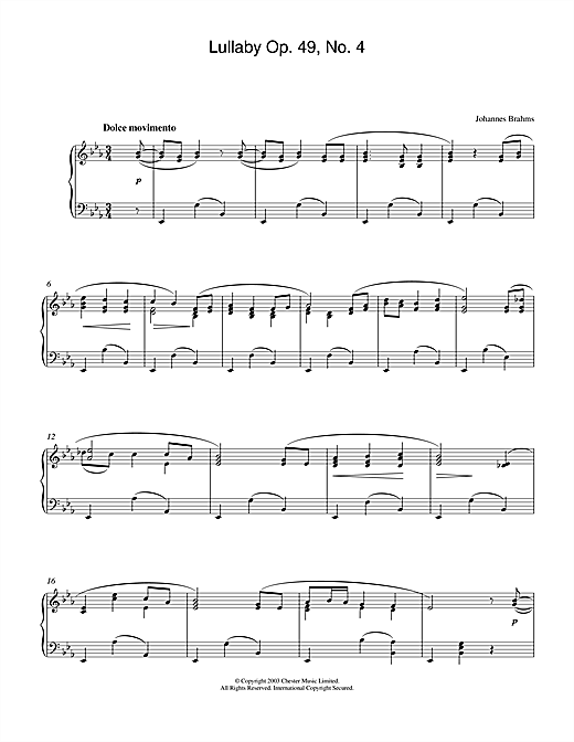 Lullaby Op. 49, No. 4 Sheet Music