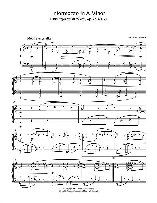 Intermezzo in A Minor (from Eight Piano Pieces, Op. 76, No. 7) Sheet Music