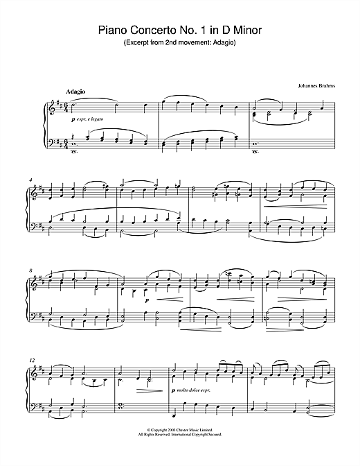 Partition piano Piano Concerto No. 1 in D Minor (Excerpt from 2nd movement de Johannes Brahms - Piano Solo