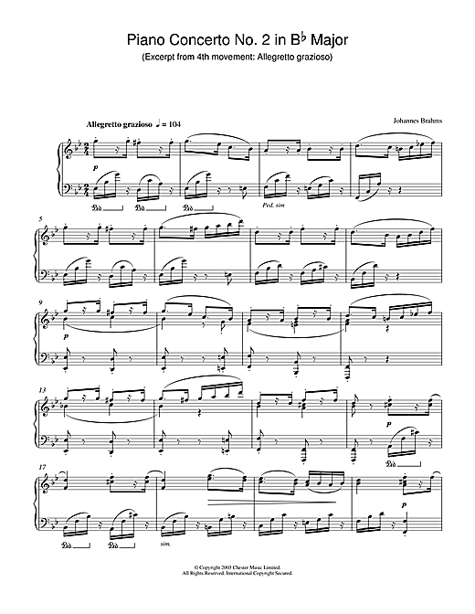 Piano Concerto No. 2 in B Flat Major (Excerpt from 4th movement: Allegretto grazioso) Sheet Music