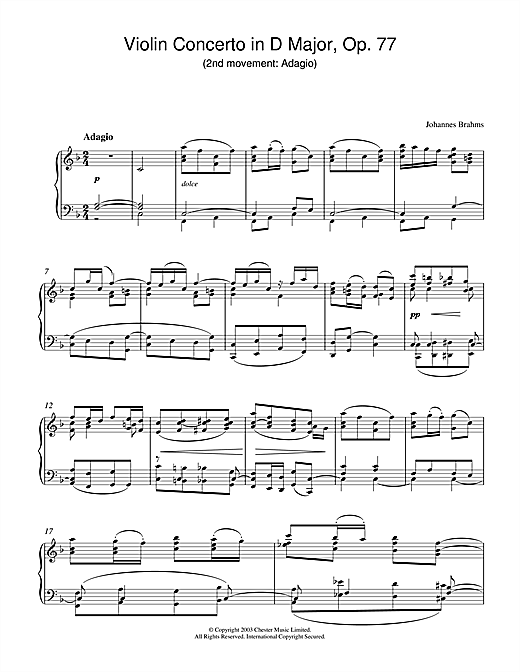 Violin Concerto in D Major, Op. 77 (2nd movement: Adagio) Sheet Music