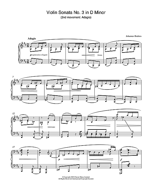 Partition piano Violin Sonata No. 3 in D Minor (2nd movement de Johannes Brahms - Piano Solo