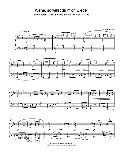 Wehe, so willst du mich wieder (from Songs To Texts By Platen And Daumer, Op. 32) Sheet Music