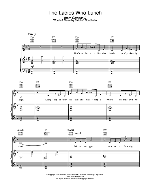Partition piano The Ladies Who Lunch (from Company) de Stephen Sondheim - Piano Voix Guitare