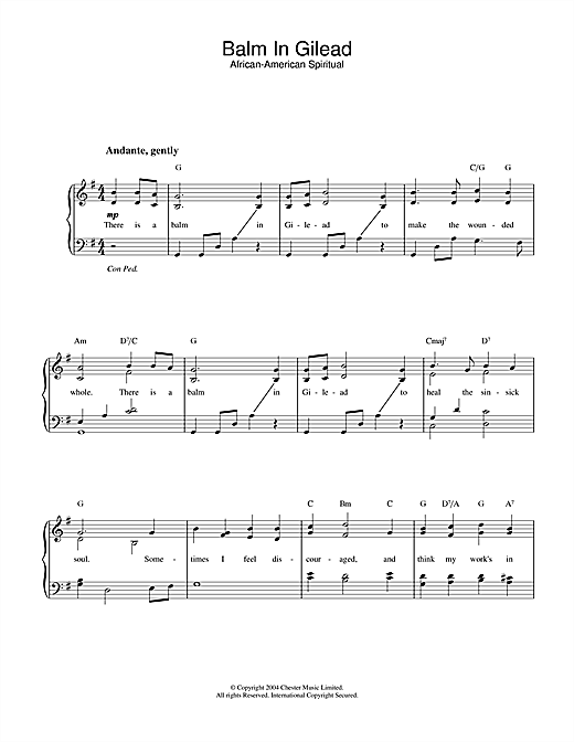 Balm In Gilead Sheet Music