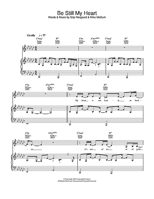Be Still My Heart Sheet Music