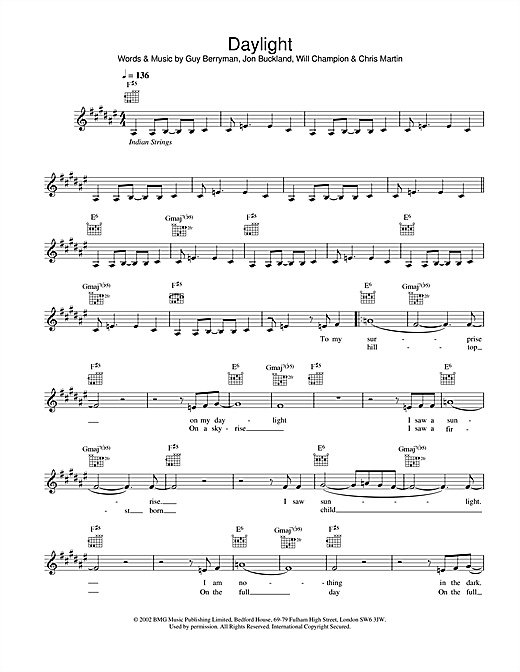 Daylight Sheet Music