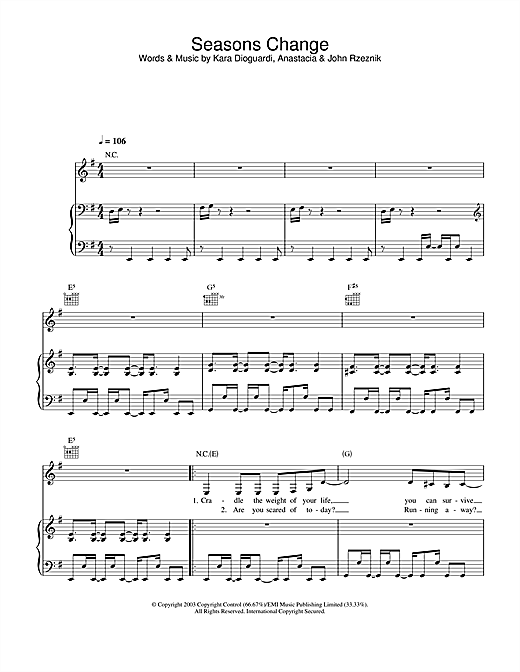 Seasons Change Sheet Music