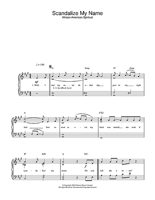Scandalize My Name Sheet Music