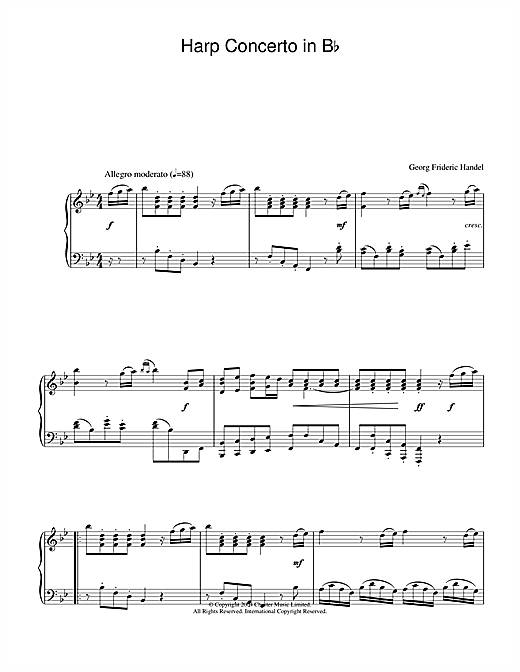 Harp Concerto in B Flat Sheet Music