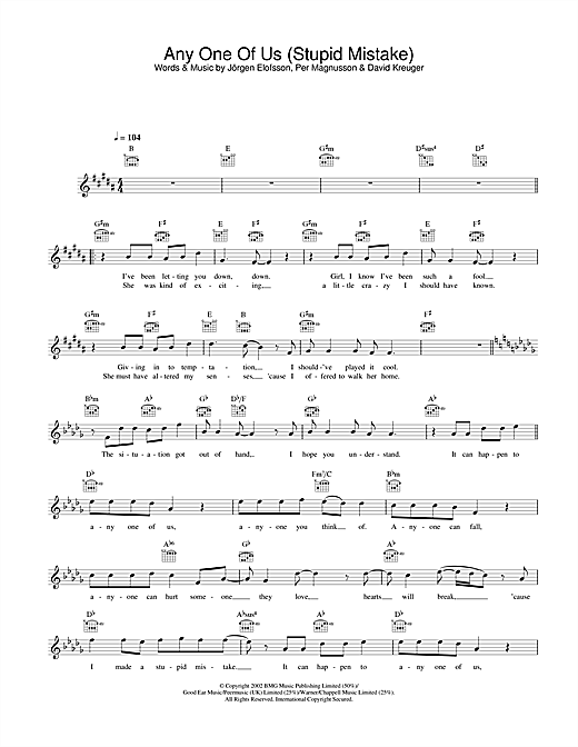 Any One Of Us (Stupid Mistake) Sheet Music