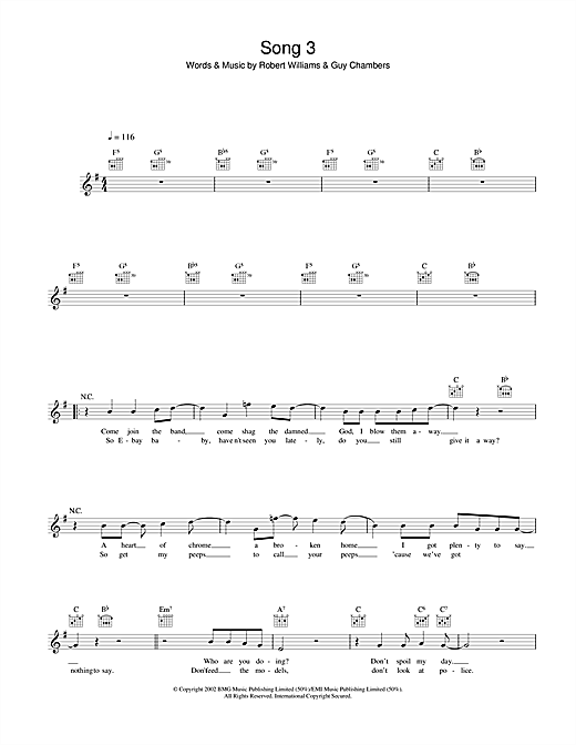 Song 3 (Lead Sheet / Fake Book)