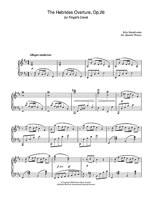 Partition piano The Hebrides Overture, Op.26 de Felix Mendelssohn - Piano Solo