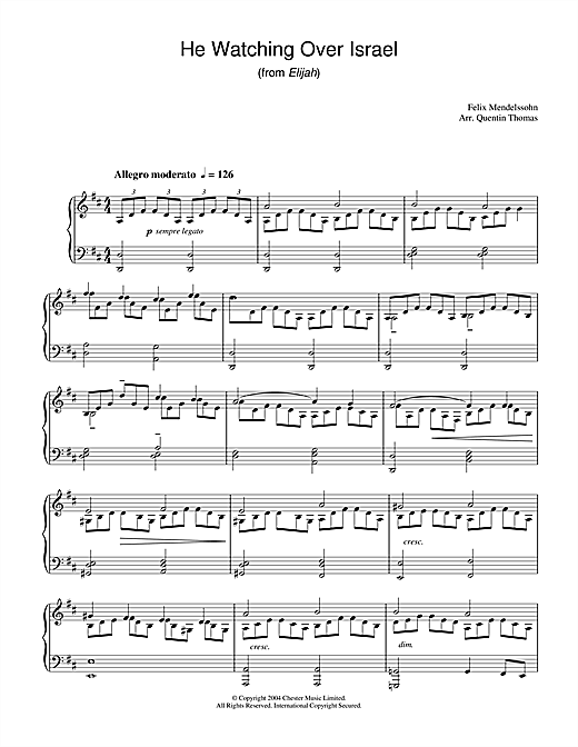 Partition piano He Watching Over Israel (from Elijah) de Felix Mendelssohn - Piano Solo