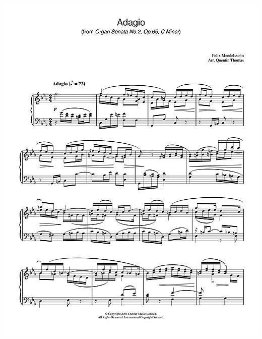 Adagio From Organ Sonata No.2, Op. 65 Sheet Music