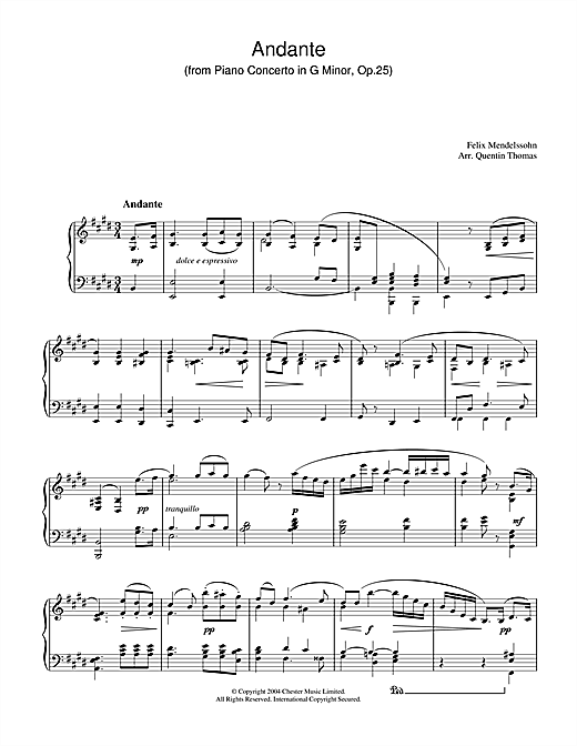 Andante From Piano Concerto In G Minor, Op. 25 Sheet Music