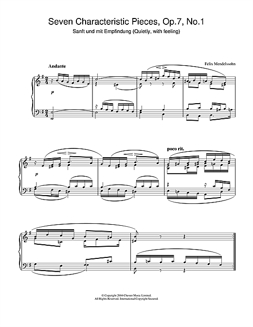Partition piano Seven Characteristic Pieces, Op.7, No.1 de Felix Mendelssohn - Piano Solo