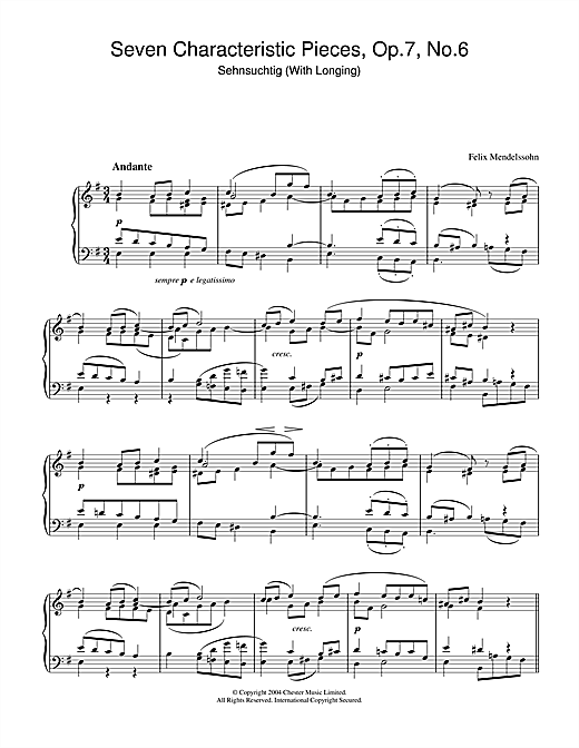 Partition piano Seven Characteristic Pieces, Op.7, No.6 de Felix Mendelssohn - Piano Solo
