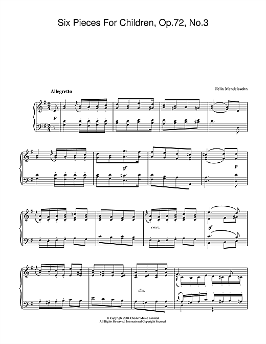 Six Pieces For Children, Op.72, No.3 Sheet Music