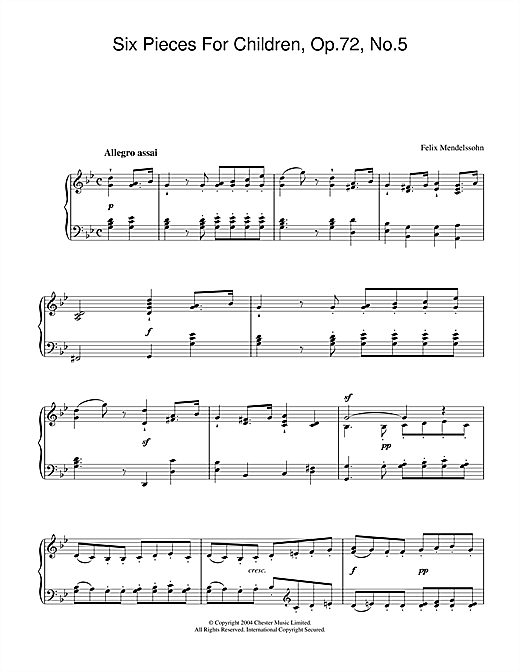 Partition piano Six Pieces For Children, Op.72, No.5 de Felix Mendelssohn - Piano Solo