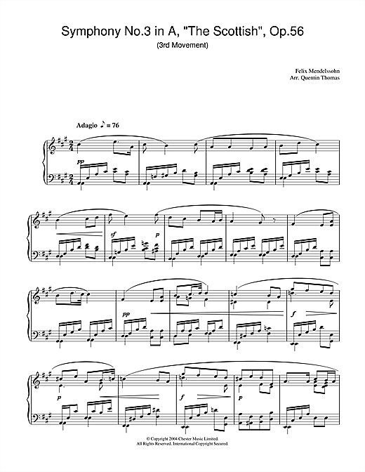 Symphony No.3 in A, 'The Scottish', Op.56 (3rd Movement) Sheet Music