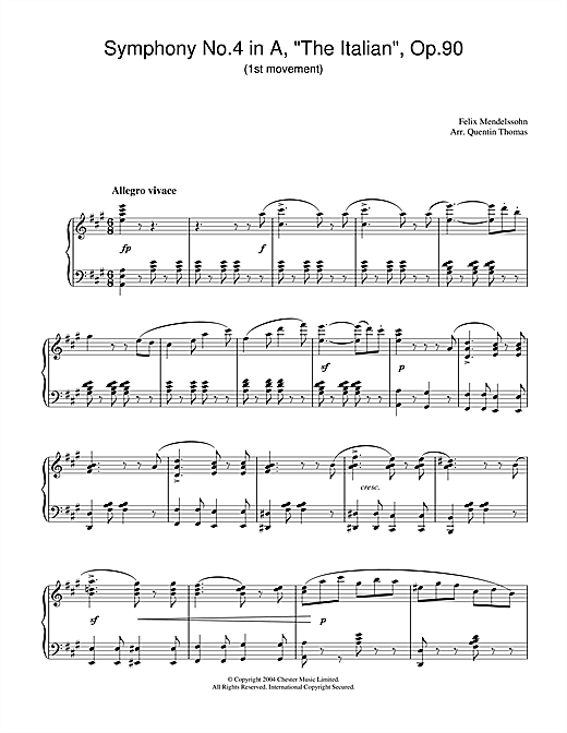 Symphony No.4 in A, 'The Italian', Op.90 (1st Movement) Sheet Music