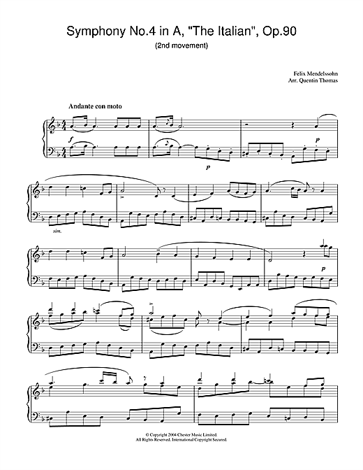 Symphony No.4 in A, 'The Italian', Op.90 (2nd Movement) Sheet Music
