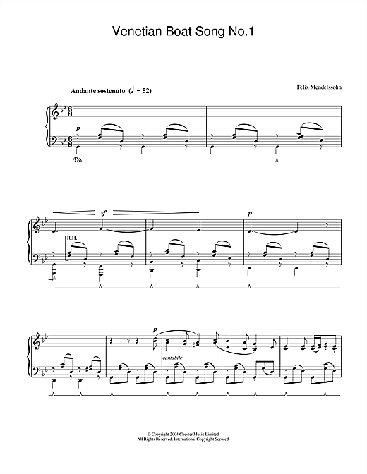 Partition piano Venetian Boat Song No.1 de Felix Mendelssohn - Piano Solo