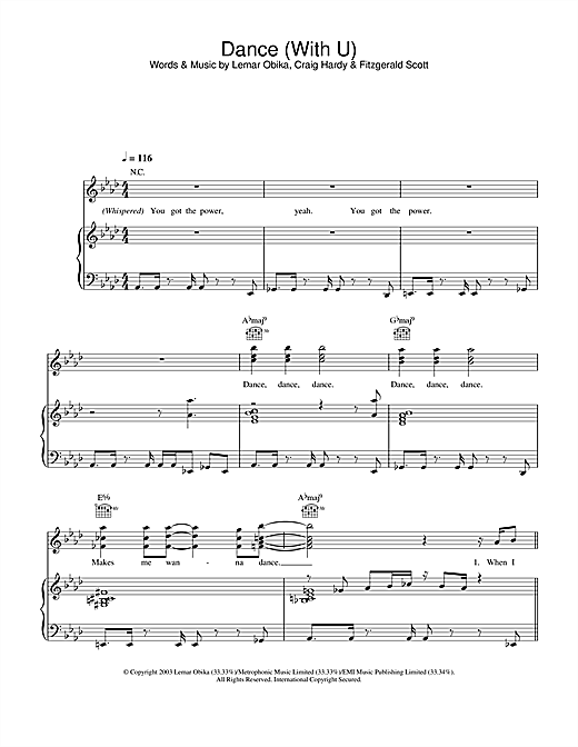 Dance (With U) Sheet Music