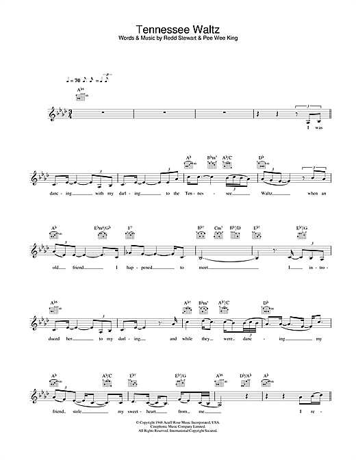 Tennessee Waltz Sheet Music