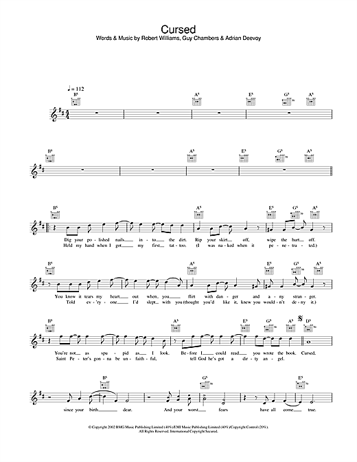 Cursed (Lead Sheet / Fake Book)