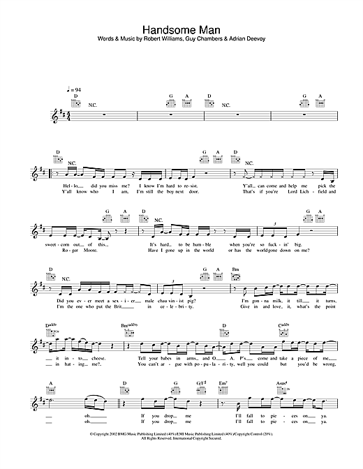 Handsome Man (Lead Sheet / Fake Book)