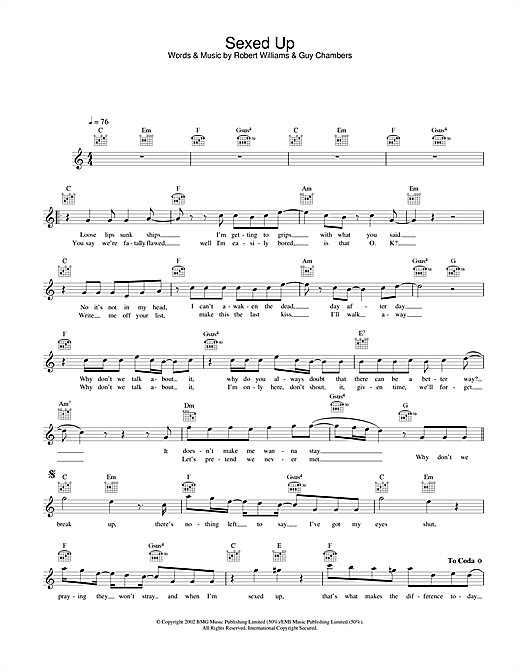 Sexed Up Sheet Music