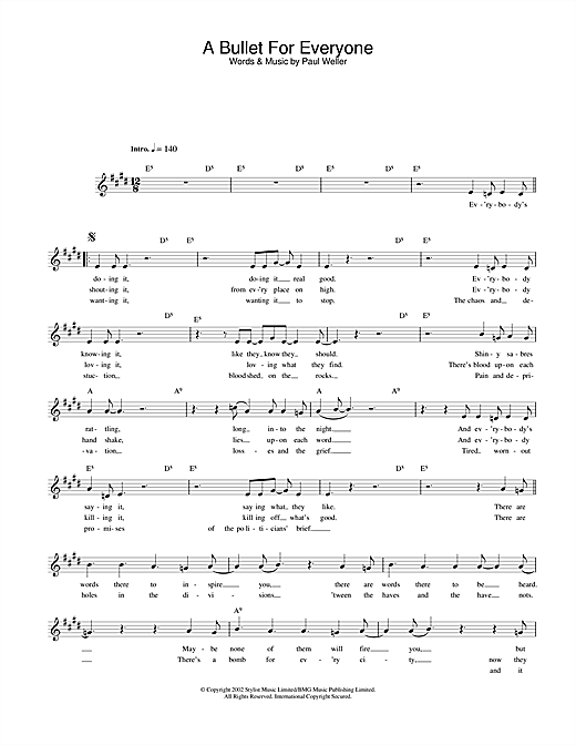 A Bullet For Everyone (Lead Sheet / Fake Book)