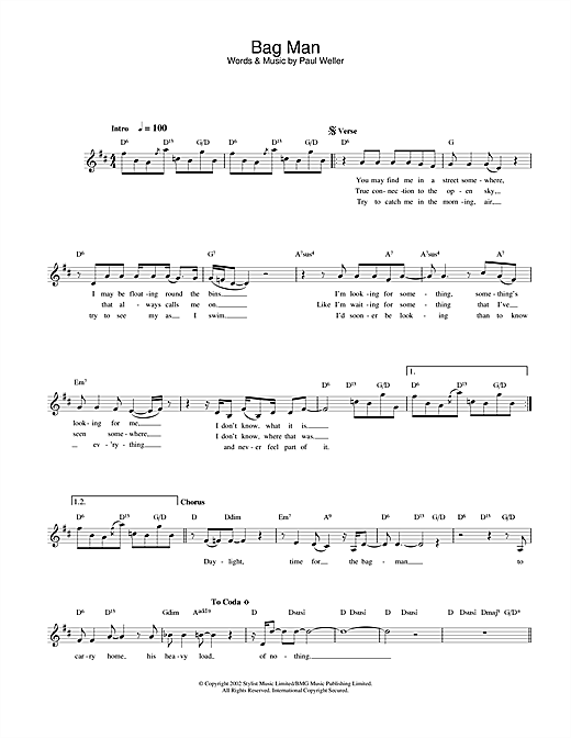 Bag Man (Lead Sheet / Fake Book)